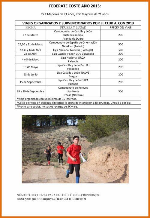VIAJES ORGANIZADOS Y SUBVENCIONADOS POR EL CLUB ALCON 2013 carte